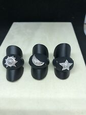 Black Rubber Ring W-center Sun Genuine Diamond Design
