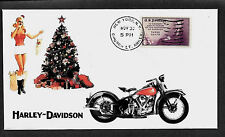 1939 Harley Davidson & Pin Up Girl Featured on Xmas  Collector's Envelope *A308