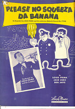 "LOUIS PRIMA Sheet Music ""Please No Squeeze Da Banana"" 1945"