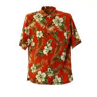Herren Kurzarmhemd Größe M Shirt Kentkragen Vintage Muster Freizeithemd Rot