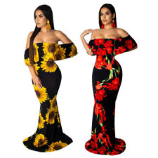 Sexy Strapless Dress Women Long Bodycon Sunflower Print Dresses Sheath Clothings