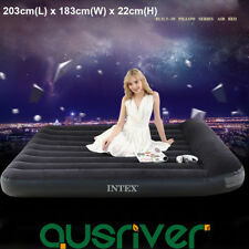 Genuine INTEX KING PLUSH RAISED AIR BED Inflatable Mattresses Camping Pump