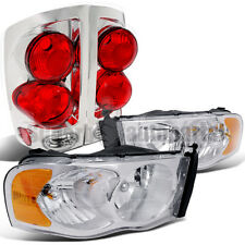 2002-2005 Dodge Ram Chrome Crystal Headlights+3D style Tail Brake Lights Clear
