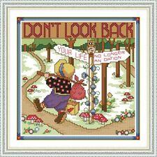 Non guardarti indietro PUNTO CROCE KIT 14ct di dimensioni 26 x 26 cm JOY DOMENICA NUOVO con confezione