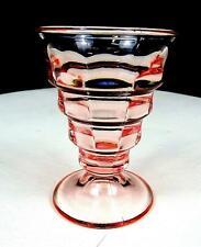 "PADEN CITY GLASS #191 PARTY LINE CHERIGLO PINK BLOCK OPTIC 3 1/2"" TUMBLER 1928"