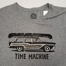 New Life is Good Mens Shirt Short Sleeve Time Machine Old Car Dog Canoe Gray XL