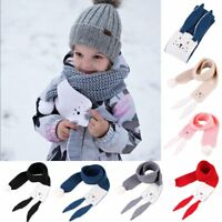 Soft Rabbit Kids Warm Winter Scarf Baby Toddler Girl Boy Crochet Knitted Scarves