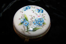 FORGET ME NOT TRINKET BOX PIN STRIPED PORCELAIN W HANDPAINTING