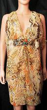 CARIBBEAN QUEEN Animal/Snake Print Silk Chiffon Draped Empire Jeweled Dress, S