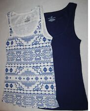 Womens 2 LOT RIBBED TANK TOP Solid Navy Blue WHITE TRIBAL Geometric L 12-14