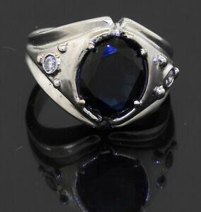 Heavy 18K white gold 4.10CT VS2/H diamond & Blue sapphire cocktail ring size 7.5