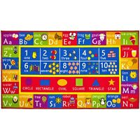 """Kids Play Mat Alphabet ABC Numbers Shapes Educational Large Area Rug 32"""" x 60"""""""