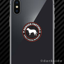 (2x) Danger Farting Curly Coated Retriever Cell Phone Sticker dog canine pet
