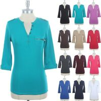 Women's Zippered Pocket Front 3/4 Sleeve Half Buttoned Top Cotton Solid S M L
