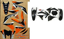 KTM SX SXF 125 250 350 450 11 12 Flu PTS4 Graphics Black Plastic Kit 2011 2012