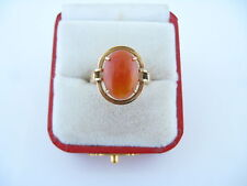 Modernist Ladies 14KT Yellow Gold Jade Ring Cabochon Honey Color Sz 7.25 Sgnd HK