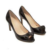 Enzo Angiolini Black Patent Leather Peep Toe Heels US 8M