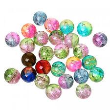 100 Glasperlen Crackle Mix 8mm zweifarbig Zerbrochene Crash Perlen Kugel rund