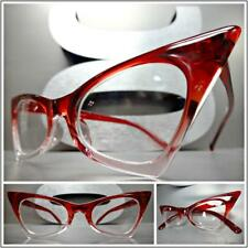 CLASSIC VINTAGE 50's RETRO CAT EYE Style Clear Lens EYE GLASSES Small Red Frame