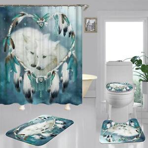 White Wolf DreamCatcher Shower Curtain Bath Mat Toilet Cover Rug Bathroom Decor