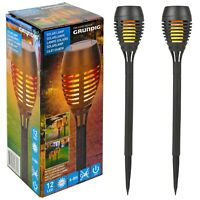 2,4,6 Plastic Solar Powered LED Outdoor Garden Driveway Light Posts Flame Lamps