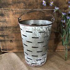 Distressed White Galvanized Metal Olive Bucket Urban Farmhouse Industrial