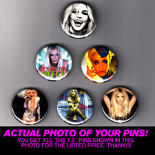 """BRITNEY SPEARS 1.5"""" PINS / BUTTONS (pop poster print oops toxic boyband 90s art)"""