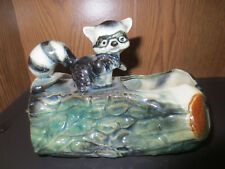 Forest Friends VINTAGE McCOY Raccoon on a Log Pottery Planter Mid Century