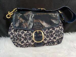 Coach 12572 Bleecker Signature Denim Patent Flap Buckle Hobo / Shoulder Bag