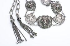Vintage Art Nouveau Silver Lion Tassle Belt