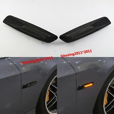 2x Black Trim LED Side Marker Amber For BMW E90 E91 E60 E82 Smoke Lens F10 Style