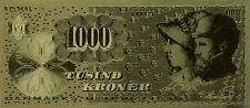 24 KT Gold 1000 KRONER DENMARK National Bank Golden Bill inside acrylic holder.