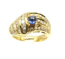0.43 quilates Auténtico Cabujón Anillo de zafiro y diamantes HEAVY sólido 18ct