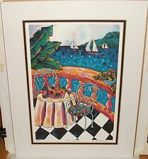 """RONDA AHRENS """"CAFE PACIFICA"""" HAND SIGNED LIMITED EDITION LITHOGRAPH"""