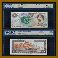 Isle of Man 10 Pounds, ND 1998 P-44a َ(2 Digit Serial Number) QE II WBG 67 TOP