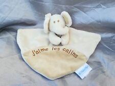 Doudou plat éléphant marron beige  J aime les câlins Les Bébés d'Elyséa neuf