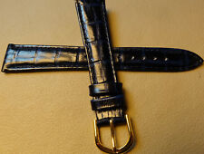 New 18mm Regular Leather Dark Blue Crocodile Grain Watch Band Gold Tone Buckle