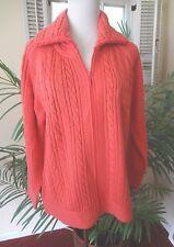 Draper's & Damon's Gorgeous Coral Orange Cardigan Front Zip Sweater Jacket M