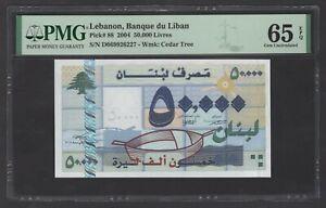 Lebanon 50000 Lira 22-11-2004 P88 Uncirculated Grade 65