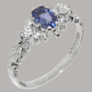 Solid 925 Sterling Silver Natural Sapphire & Diamond Womens Trilogy Ring