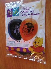 """Pooh Halloween Pack of 12"""" Balloons Helium Quality Latex Printed NOS Made in USA"""