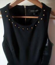 River Island Black Stretch Fit Flare Skater Style Studded Dress SIZE 10
