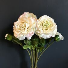 Bunch 6 Antique White Faux Silk Ranunculus, Realistic Artificial Ivory Flowers