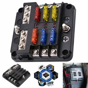 6 Way Car Boot Power Distribution 12-24V Blade Fuse Holder Box Block Panel Board