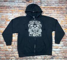 Famous Stars and Straps Logo Men's Full Zip Up Hoodie Sweatshirt Roses Skull XL