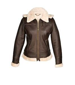 Ladies Womens Genuine Sheepskin Hooded Aviator Flying Jacket - Size 16