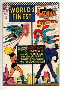 WORLDS FINEST COMICS #166 (DC Comics 1967) FN Batman and Superman Joker cover