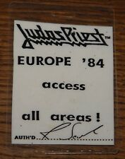 JUDAS PRIEST METAL CONQUEROR EUROPEAN TOUR 1984 LAMINATED PASS FROM DAVE HOLLAND