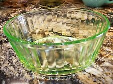 Nice Green Depression Glass Oval Refrigerator Bowl Ribbed Uranium Vintage 8 x 6