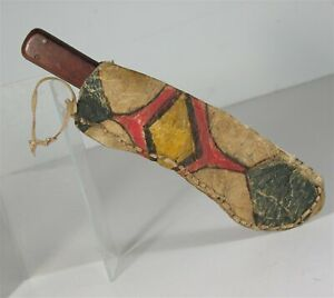 1880s NATIVE AMERICAN SIOUX PAINT DECORATED PARFLECHE HIDE KNIFE SHEATH & KNIFE